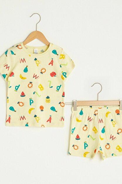 LC Waikiki Erkek Bebek Canlı Sarı Baskı Lua Pijama Takımı