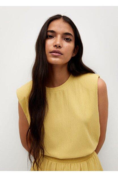 Mango Kadın Hardal Rengi Bluz --