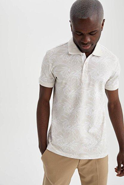 Defacto Slim Fit Polo Yaka Floral Desenli Kısa Kollu Tişört