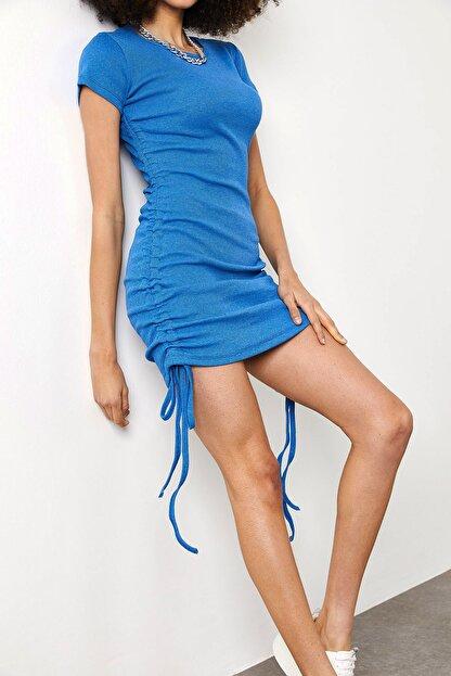 Xena Kadın Mavi Yanları Büzgülü Kaşkorse Elbise 1YZK6-11717-12