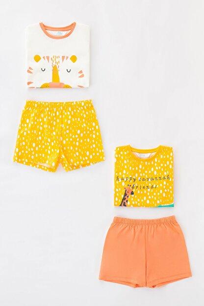 Penti Çok Renkli Kız Çocuk Savannah Friends Ss 4Lu Pijama Takımı