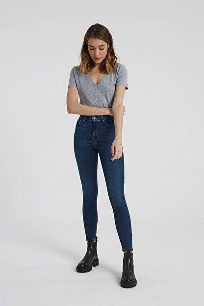 CROSS JEANS Judy Koyu Taş Indigo Yüksek Bel Skinny Fit Jean Pantolon