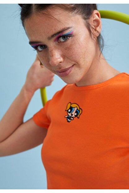Defacto Kadın Turuncu Powerpuff Girls Lisanslı Bisiklet Yaka Crop Tişört
