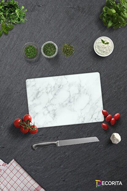 Decorita Klasik Mermer Desenli   Cam Kesme Tahtası - Cam Kesme Tablası   20cm x 30cm