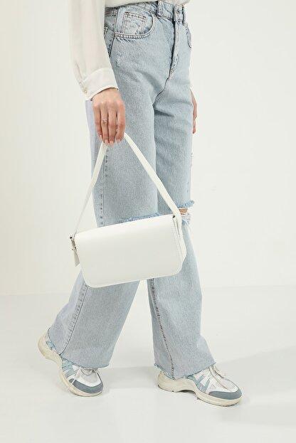 Petek Karnaval Kadın Beyaz Baguette Çanta