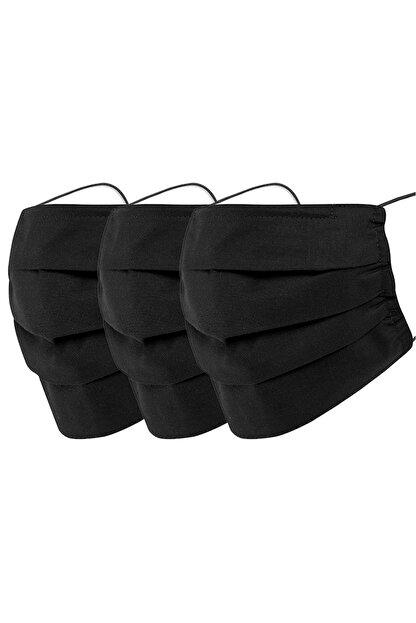 Mutlu Maske Konfor Serisi 3 Katlı Burun Telli Unisex Pamuklu Kumaş Siyah Renkli Yıkanabilir Maske 3'lü Paket