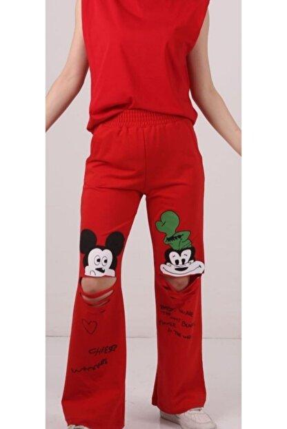 SİS GİYİM Kadın Kırmızı Mickey Baskılı Eşorfman Altı
