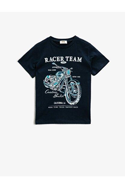 Koton Yazili T-Shirt Kisa Kollu Pamuklu Bisiklet Yaka