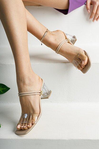 meyra'nın ayakkabıları Kadın Krem Şeffaf Topuklu Ayakkabı