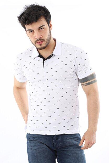 Arlin Erkek Polo Yaka Düğmeli Kuş Baskılı Slim Fit Beyaz T-shirt