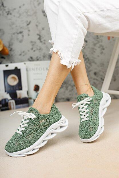 meyra'nın ayakkabıları Kadın  Yeşil Dantelli Spor Ayakkabı