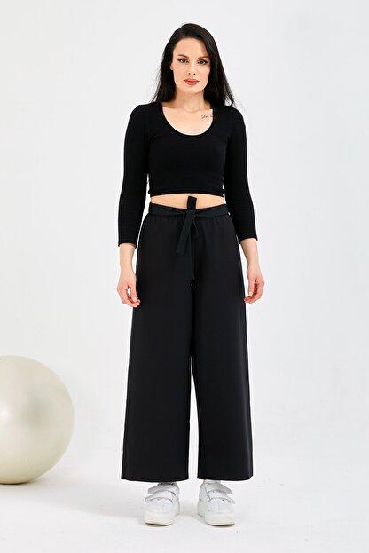 Gentekstil Genplus Kadın Siyah Bel Lastikli Rahat Kesim Pantolon