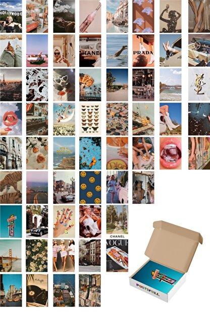 Postifull Retro Poster Kolaj Seti - 60 Adet - Vintage Poster Seti - 10cm*14cm - Kuşe Kağıt - Kutulu Set