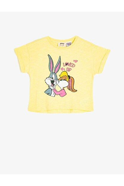 Koton Kız Çocuk Sarı Warner Bros Lisansli Kısa Kollu Bugs Bunny Baskılı T-Shirt