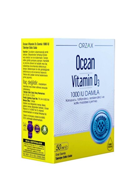 Orzax Ocean Vitamin D3 1000 Iu Oral Damla 50 ml