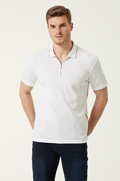 Network Erkek Slim Fit Beyaz Polo Yaka Şeritli T-shirt 1078381