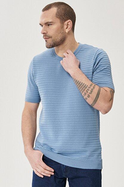 Altınyıldız Classics Erkek Mavi 360 Derece Her Yöne Esneyen Slim Fit %100 Koton Triko Tişört