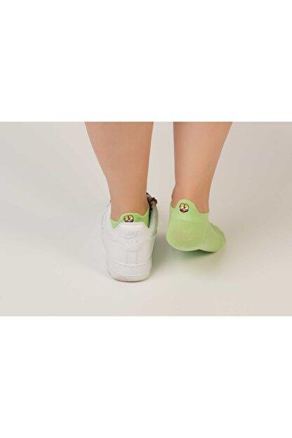 DE&BA SocksWear Unisex Emoji Nakışlı Neon Yeşil Patik Çorap