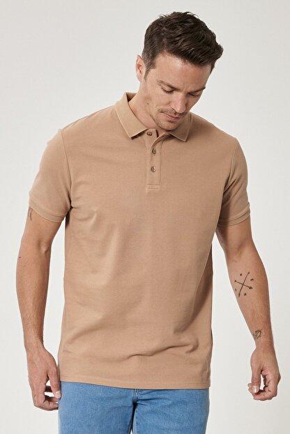 Altınyıldız Classics Erkek Vizon Polo Yaka Cepsiz Slim Fit Dar Kesim %100 Koton Düz Tişört