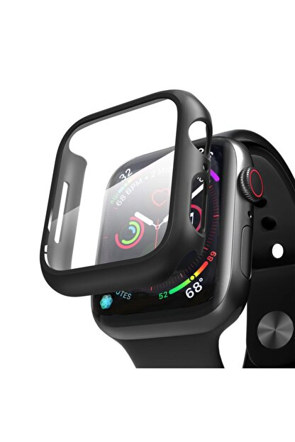 Apple Microsonic Watch Series 3 38mm Kılıf Matte Premium Slim Watchband Siyah