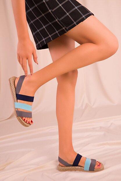 CONFORCİTY Kadın Gri Mavi Lacivert Sandalet