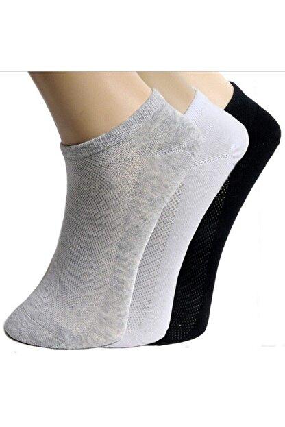 BY Umut Erkek Gri 12 Çift Patik Çorap Spor Ayakkabı Kısa Soket Çorabı