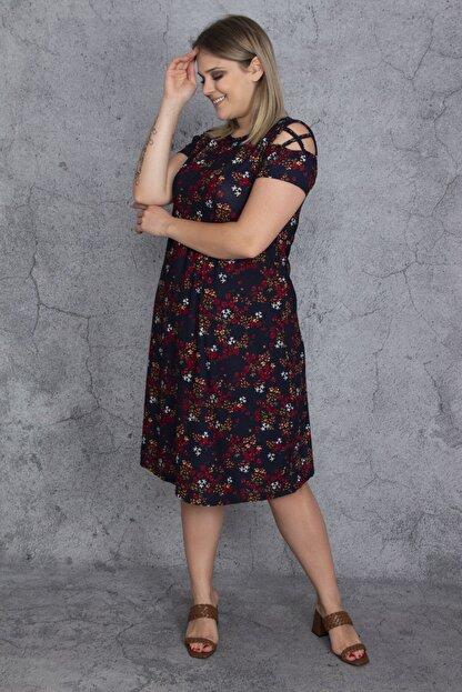 Şans Kadın Renkli Kol Detaylı Elbise 65N23907