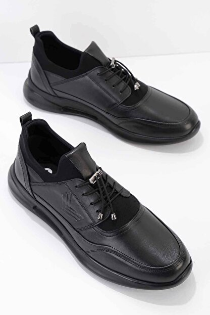 Bambi Hakiki Deri Siyah Erkek Casual Ayakkabı E01556005603