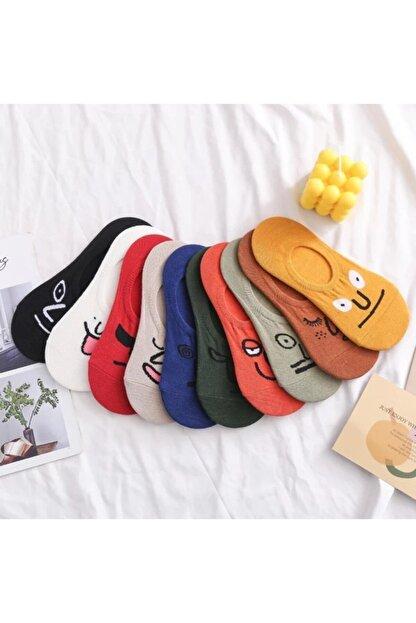 BGK Unisex Renkli Yüz Desenli Babet Çorap 10'lu