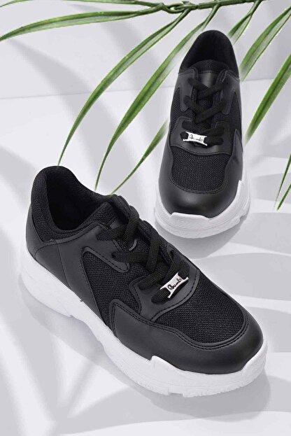 Bambi Siyah Beyaz Kadın Sneaker K01836001009