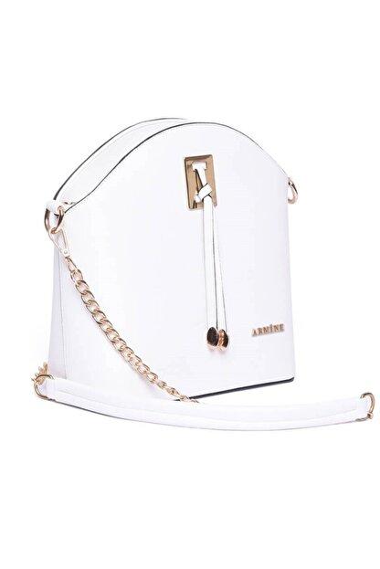 Armine Kadın Beyaz Zincir Askılı Çanta