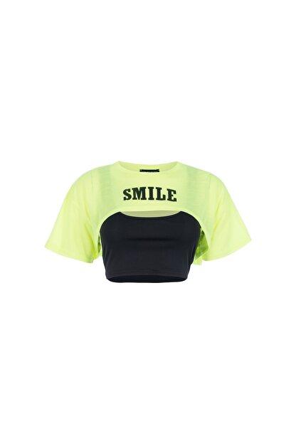Quzu Kadın Sarı Neon Baskılı Crop Tişört