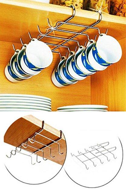 Kitch&Home Raf Altı 10 Kancalı Fincan Kupa Bardak Askısı, Kancalı Fincan Askılığı
