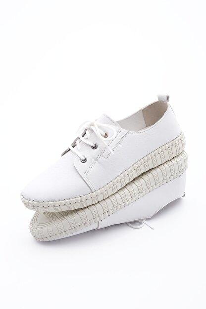 Marjin Kadın Hakiki Deri Comfort Ayakkabı Resabeyaz