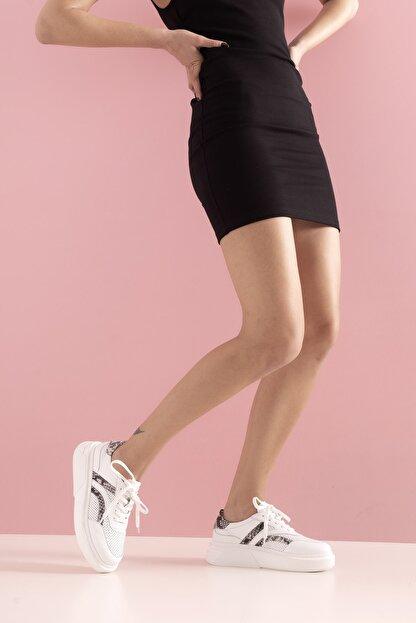 GRADA Kadın Beyaz  Hakiki Deri Yüksek Taban Bağcıklı Sneaker Ayakkabı