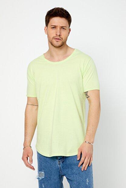 Tarz Cool Erkek Açık Fıstık Yeşili Pis Yaka Salaş T-shirt