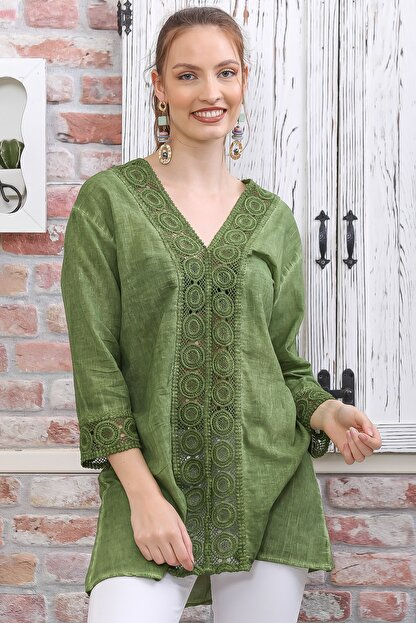 Chiccy Kadın Yeşil Dantel Şerit Detaylı 3/4 Kol Dokuma Bluz M10010200BL95437