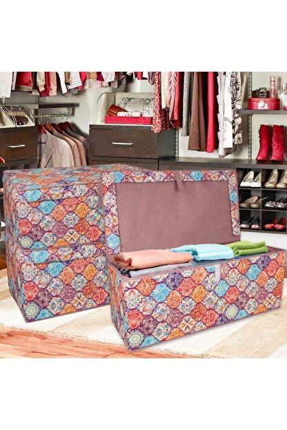 Lumier 3 Adet Maxi Kapaklı Kutu Hurç Eşya Yastık Kıyafet Saklama Kutu Seti 50x40x30 Cm