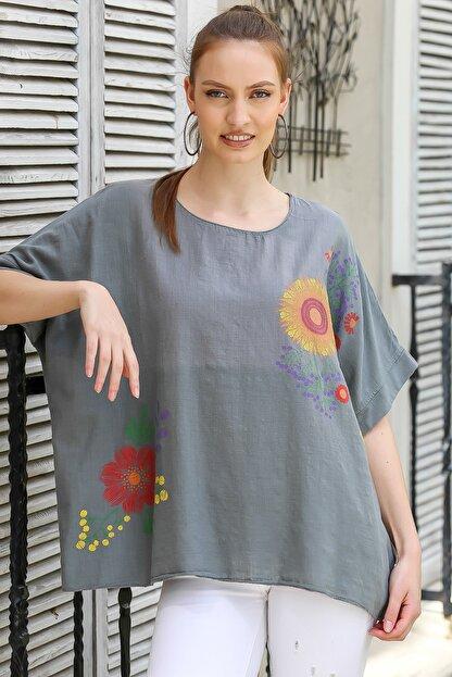 Chiccy Kadın Füme Sıfır Yaka Günebakan Çiçek Desenli Salaş Dokuma Bluz M10010200BL95412
