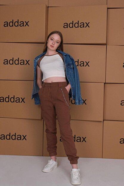 Addax Kadın Kahve Zincir Detaylı Pantolon Pn01-0073 - S11 Adx-0000024102