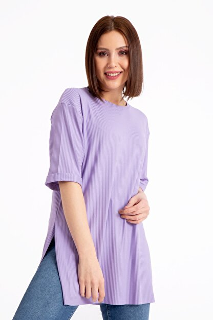 GİYSA Boyfriend Kaşkorse Lila T-shirt 3683