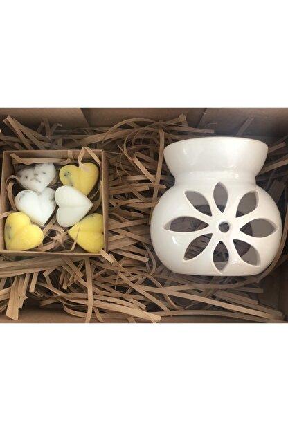 Bagü Seramik Buhurdanlık Set Beyaz Lotus