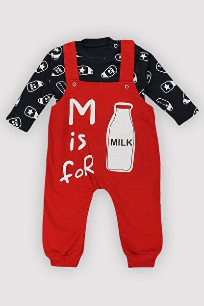 Peki 4 Mevsim Uniseks Bebek %100 Pamuk Milk Baskı Slopetli Badili Tulumlu Ikili Takım 12404