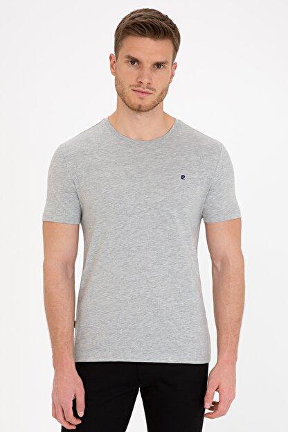 Pierre Cardin Açık Gri Melanj Slim Fit Bisiklet Yaka Basic T-Shirt