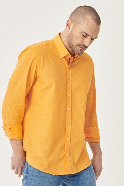 Altınyıldız Classics Erkek Turuncu Tailored Slim Fit Dar Kesim Düğmeli Yaka %100 Koton Gömlek
