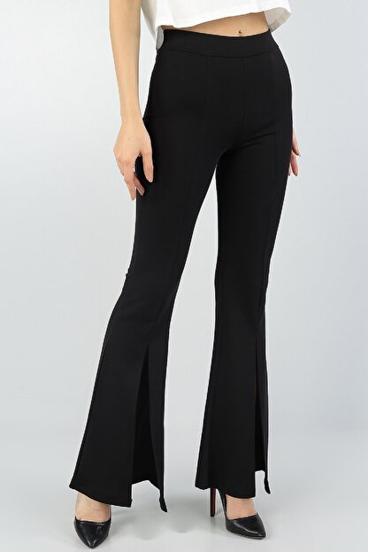 Md1 Collection Kadın  Esnek Kumaş Yırtmaç Paça Detaylı Siyah Ispanyol Paça Pantolon