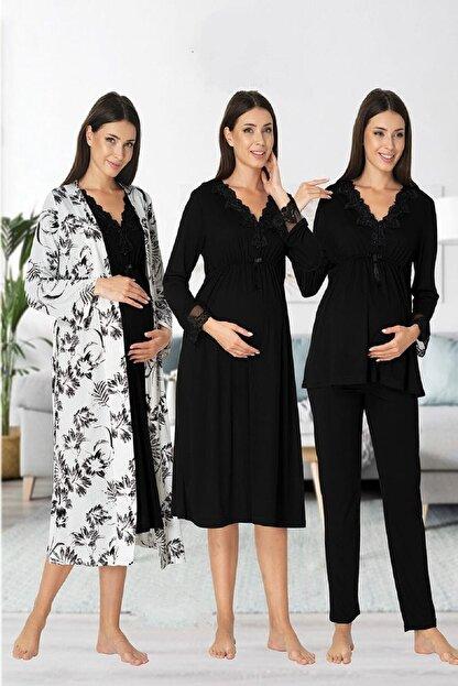 Effort Pijama Zerre Bebe Kadın Siyah Uzun Kollu Pijama Takımı Gecelik Sabahlık Lohusa Hamile 4'lü Set