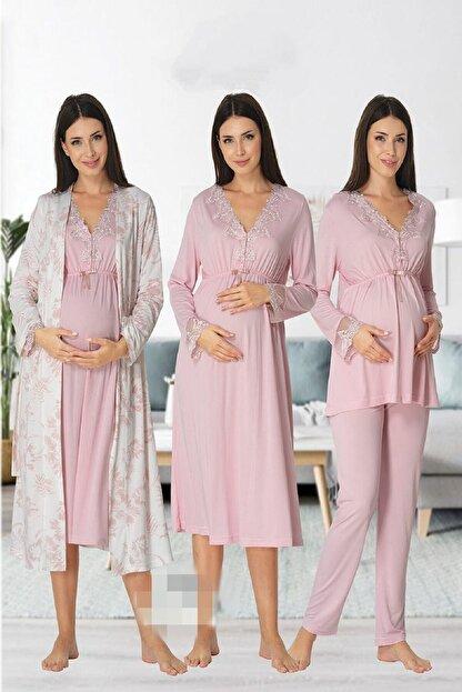 Effort Pijama Zerre Bebe Kadın Pembe Uzun Kollu Pijama Takımı Gecelik Sabahlık Lohusa Hamile 4'lü Set