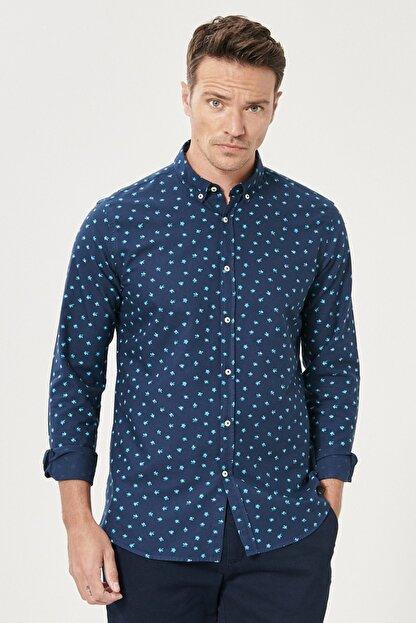 Altınyıldız Classics Erkek Lacivert Tailored Slim Fit Düğmeli Yaka Baskılı %100 Koton Gömlek