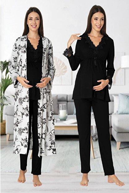 Effort Pijama Zerre Bebe Kadın Siyah Uzun Kollu Hamile Pijama Takımı Sabahlık Lohusa Set